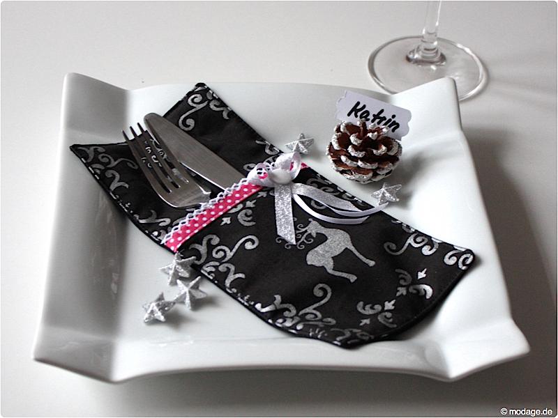 n hblog modage weihnachtsdinner bestecktaschen und tischk rtchen. Black Bedroom Furniture Sets. Home Design Ideas