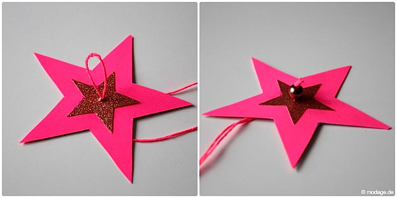 Sterne aus Papier basteln Sterne basteln Weihnachtssterne Plissee basteln Anleitung neonpink Garnundmehr