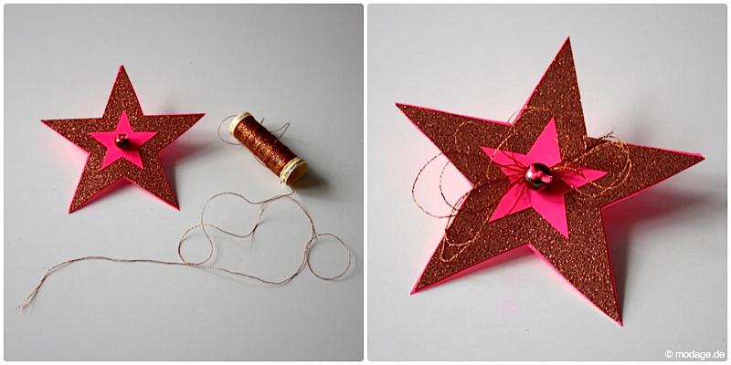 Sterne aus Papier basteln Sterne basteln Weihnachtssterne Plissee basteln Anleitung neonpink Garnundmehr 7