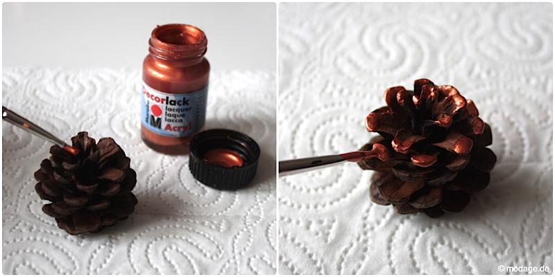 Tannenzapfen Kienapfel DIY basteln malen mit Naturmaterialien fur Weihnachten Kinder Dekoration selbermachen Weihnachtsbaumschmuck modage 2