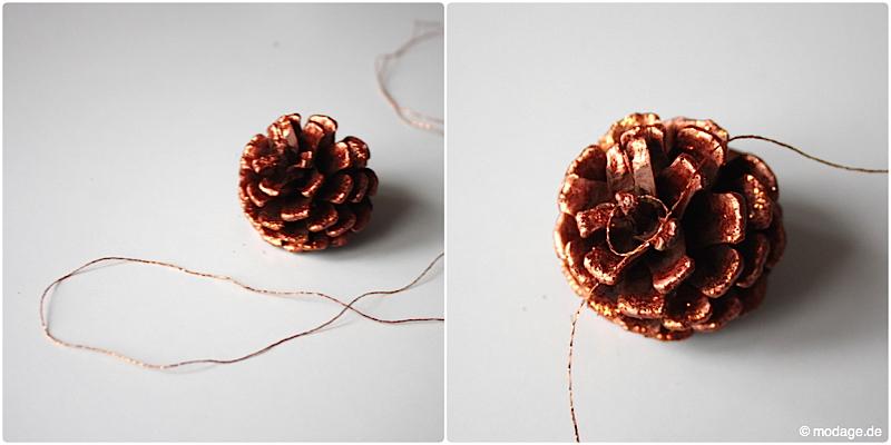 Tannenzapfen Kienapfel DIY basteln malen mit Naturmaterialien fur Weihnachten Kinder Dekoration selbermachen Weihnachtsbaumschmuck modage 5