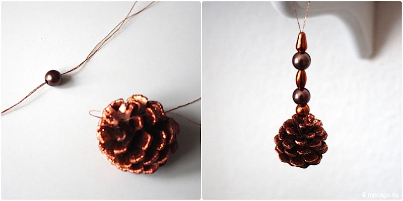Tannenzapfen Kienapfel DIY basteln malen mit Naturmaterialien fur Weihnachten Kinder Dekoration selbermachen Weihnachtsbaumschmuck modage 6