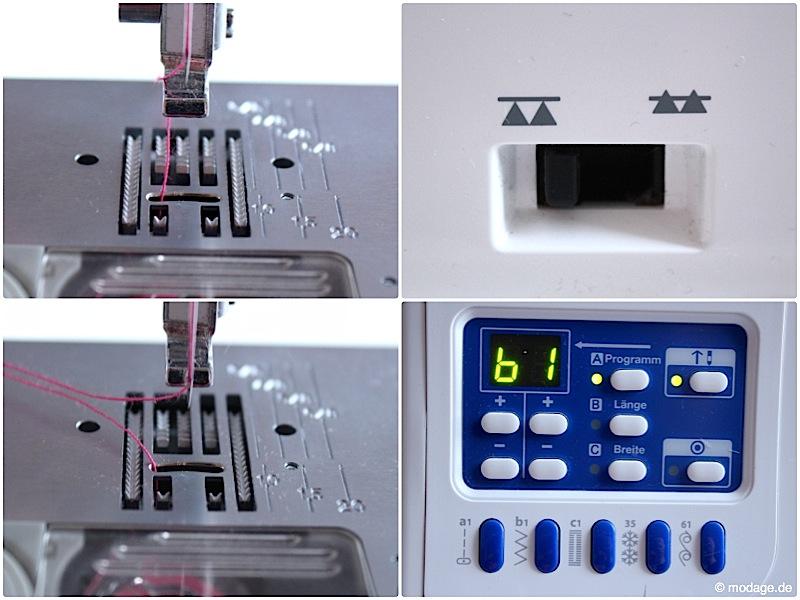 Nähfuß - kunde Knopf annaehen mit der Naehmaschine Knopflochschiene Knopfannähfuß Knopflochfuß W6 Naehmaschine 10