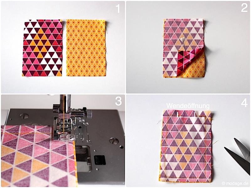 Origami Schmetterling aus Stoff Naehanleitung Stoffreste modage 5