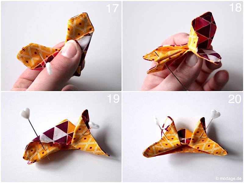 Origami Schmetterling aus Stoff Naehanleitung Stoffreste modage 9