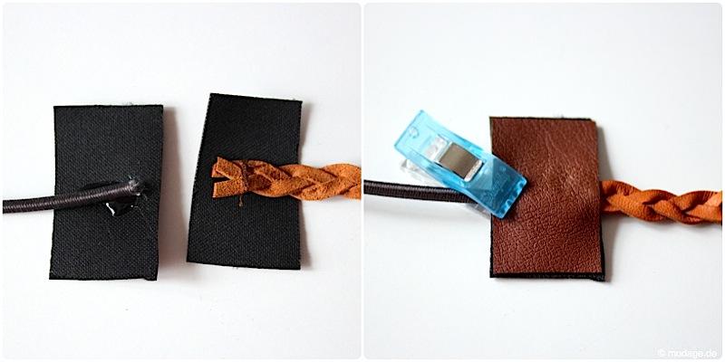 Haarband naehen aus geflochten Lederbaender modage 4