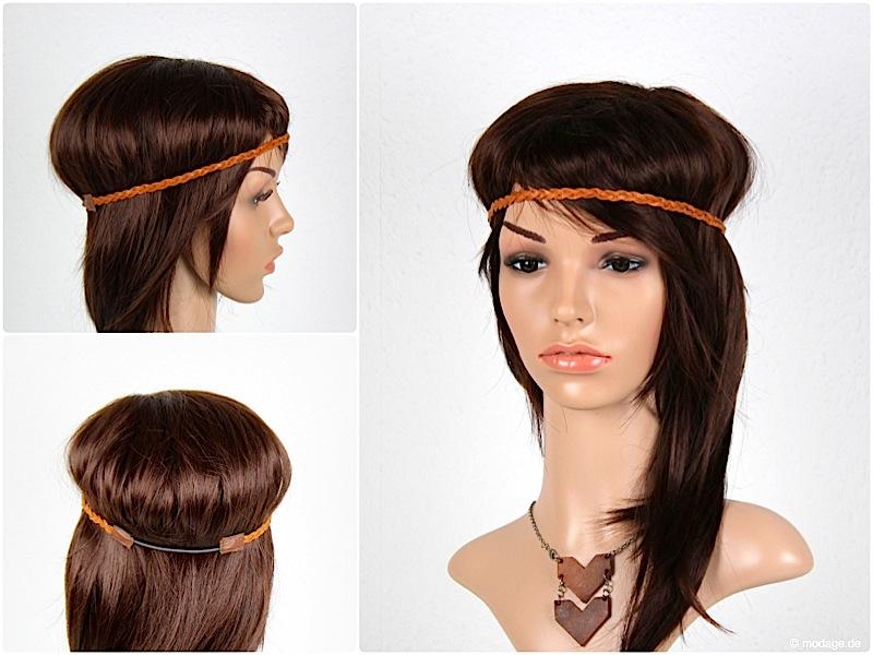Haarband naehen aus geflochten Lederbaender modage 8